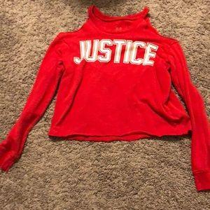 Red Justice no shoulder long sleeve